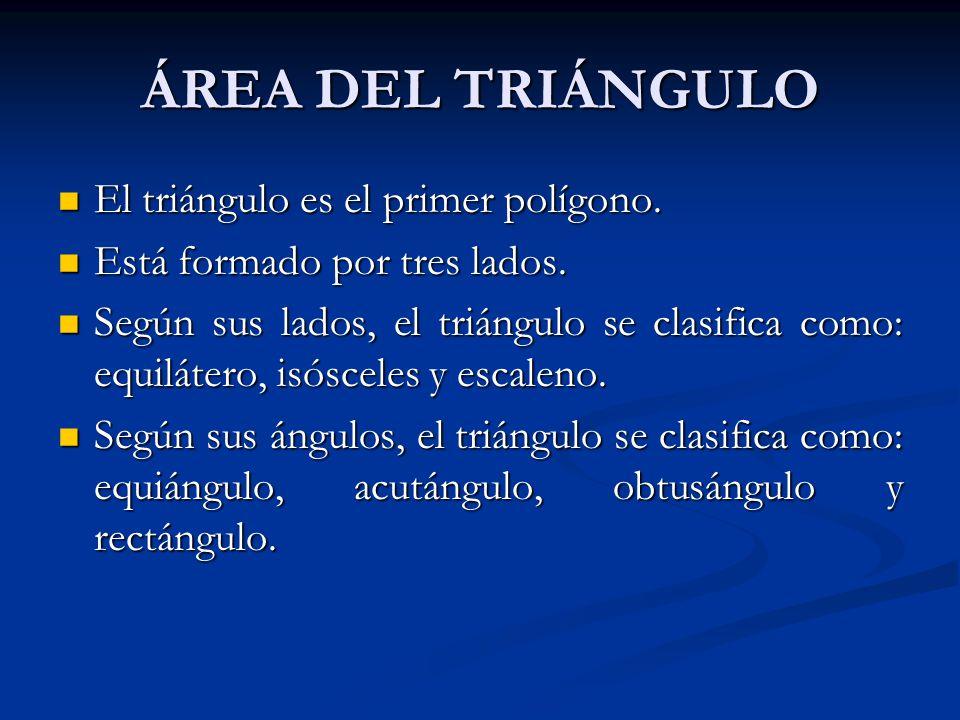 ÁREA DEL TRIÁNGULO El triángulo es el primer polígono.