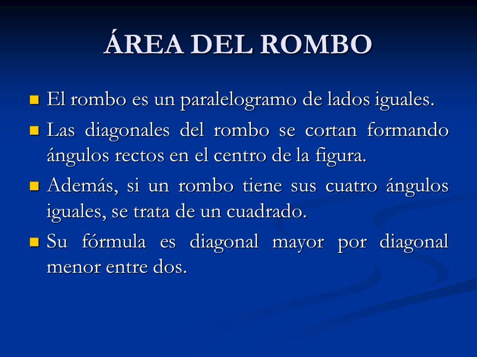 ÁREA DEL ROMBO El rombo es un paralelogramo de lados iguales.