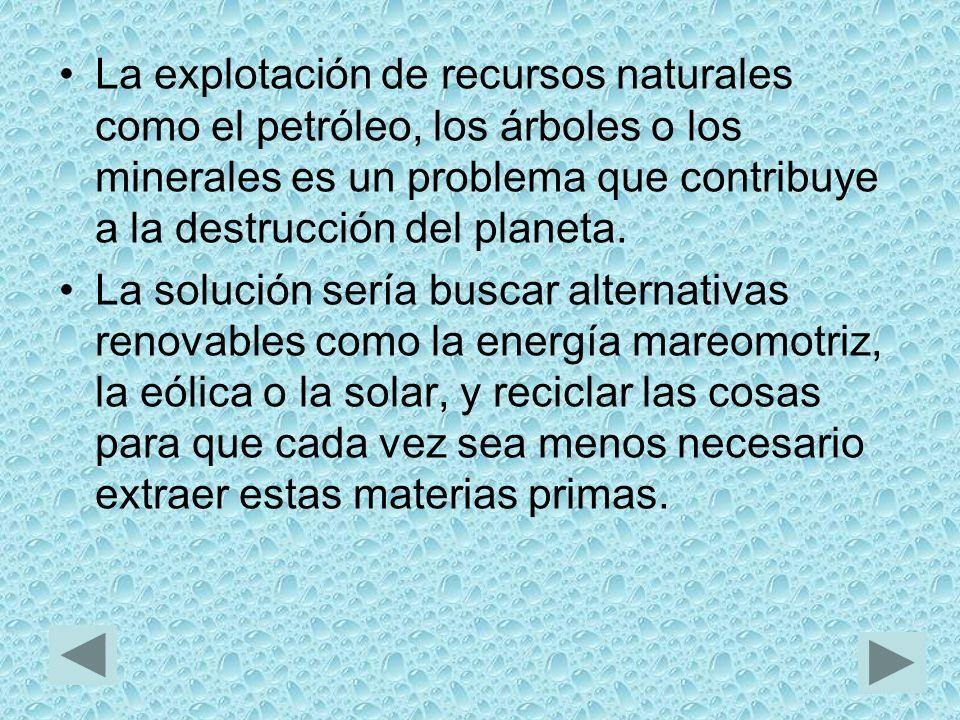 La explotación de recursos naturales como el petróleo, los árboles o los minerales es un problema que contribuye a la destrucción del planeta.