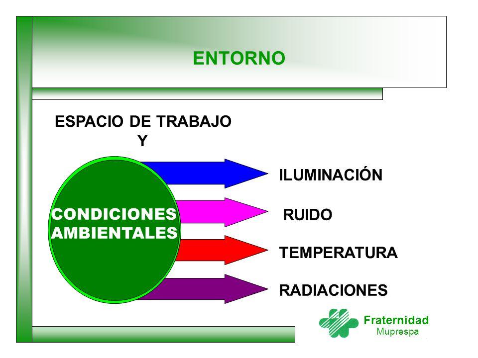 ENTORNO ESPACIO DE TRABAJO Y ILUMINACIÓN CONDICIONES AMBIENTALES RUIDO