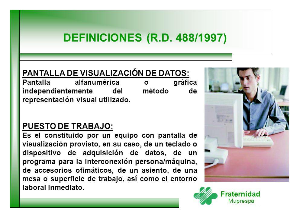 DEFINICIONES (R.D. 488/1997) PANTALLA DE VISUALIZACIÓN DE DATOS: