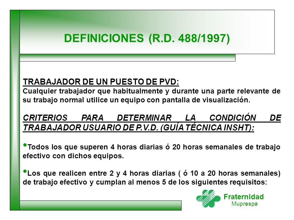 DEFINICIONES (R.D. 488/1997) TRABAJADOR DE UN PUESTO DE PVD: