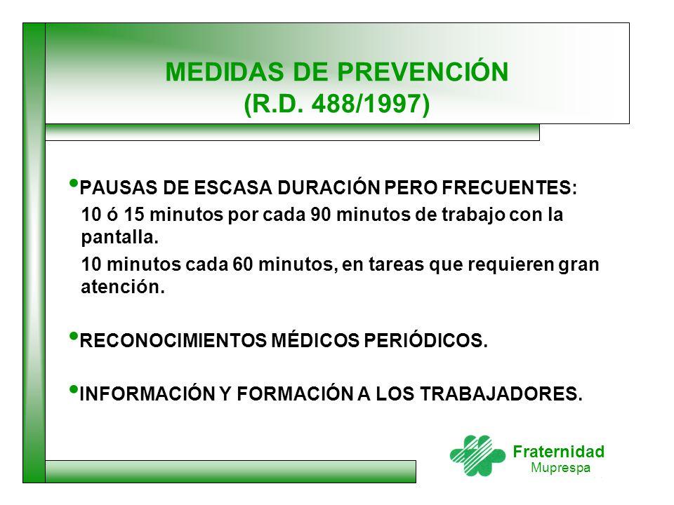 MEDIDAS DE PREVENCIÓN (R.D. 488/1997)
