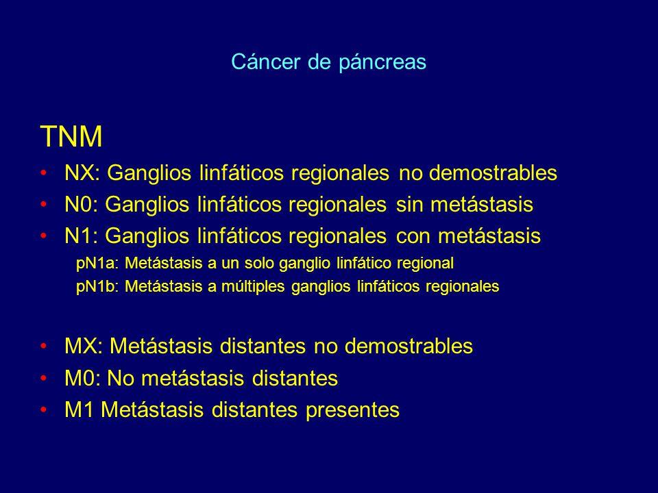 Cáncer de páncreas TNM. NX: Ganglios linfáticos regionales no demostrables. N0: Ganglios linfáticos regionales sin metástasis.