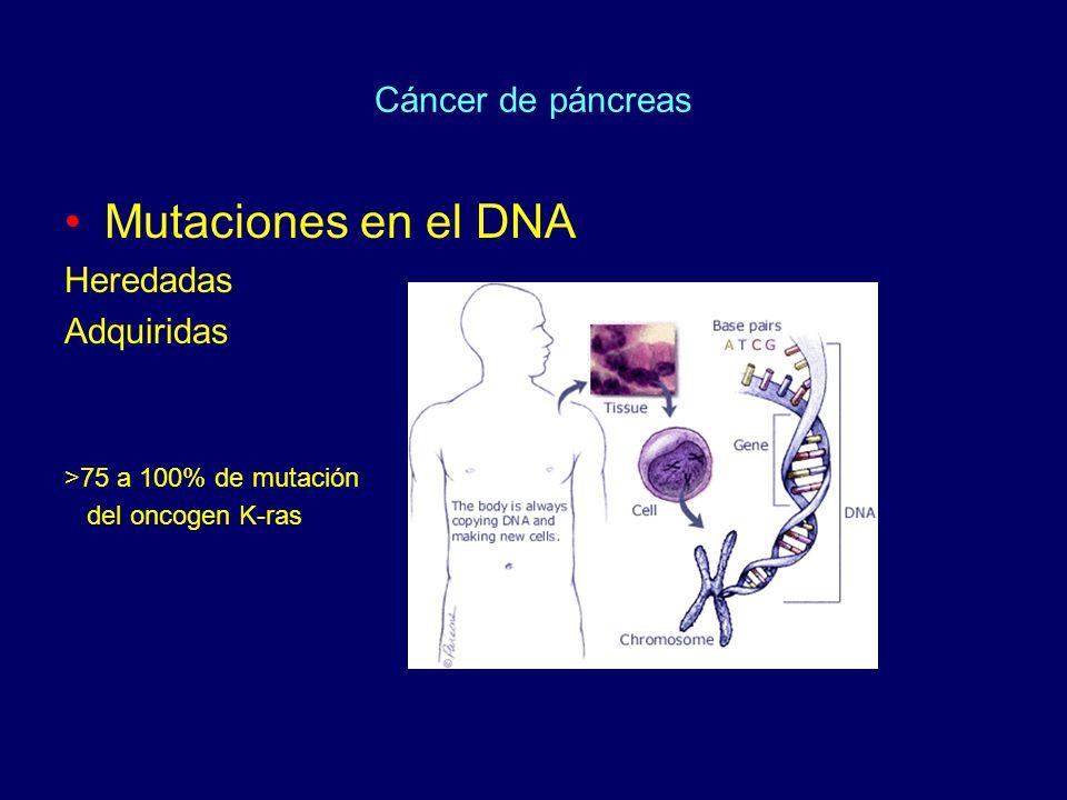 Mutaciones en el DNA Cáncer de páncreas Heredadas Adquiridas