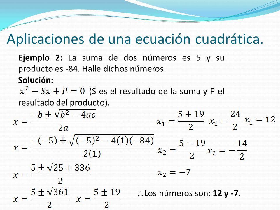 Aplicaciones de una ecuación cuadrática.