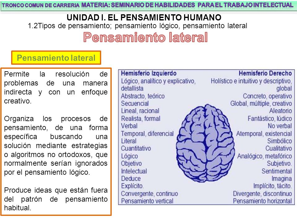 Pensamiento lateral UNIDAD I. EL PENSAMIENTO HUMANO