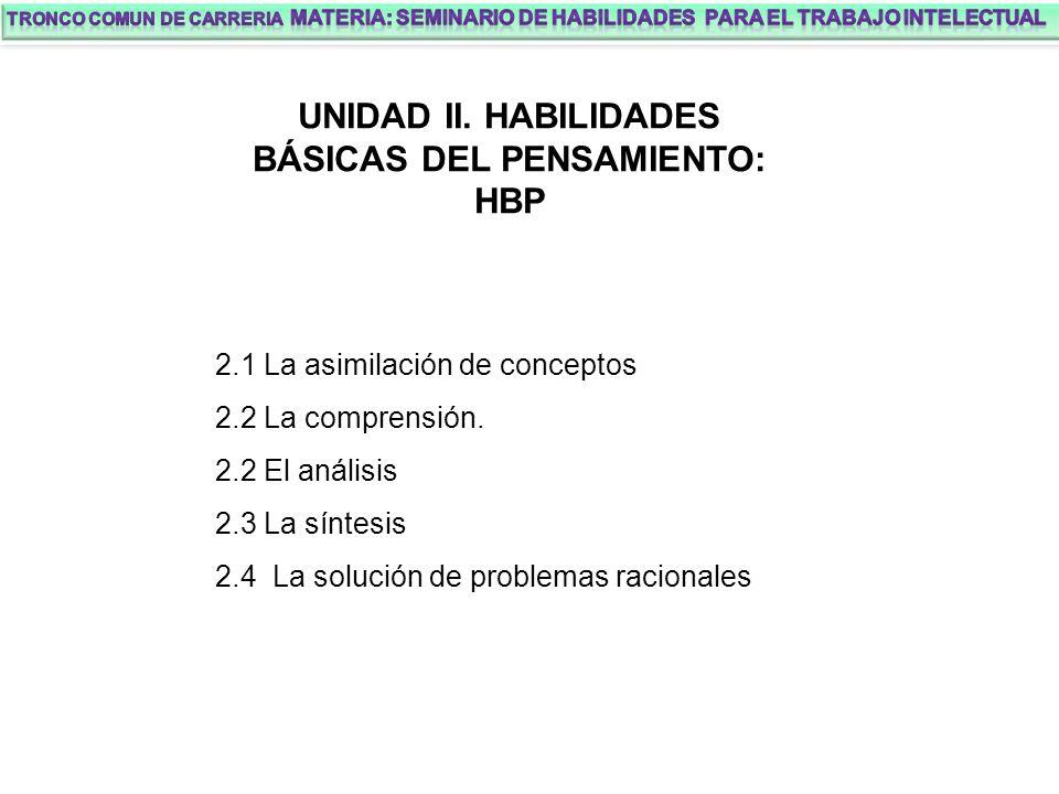 UNIDAD II. HABILIDADES BÁSICAS DEL PENSAMIENTO: HBP