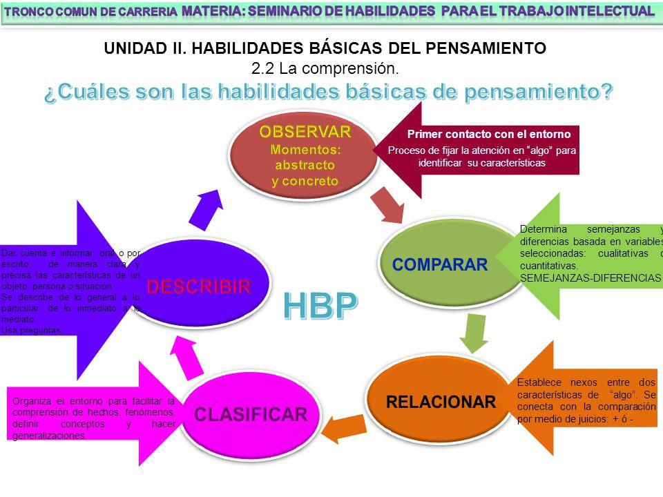 HBP ¿Cuáles son las habilidades básicas de pensamiento DESCRIBIR