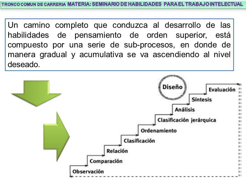 Un camino completo que conduzca al desarrollo de las habilidades de pensamiento de orden superior, está compuesto por una serie de sub-procesos, en donde de manera gradual y acumulativa se va ascendiendo al nivel deseado.