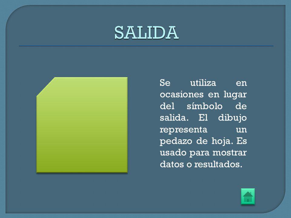 SALIDA Se utiliza en ocasiones en lugar del símbolo de salida.