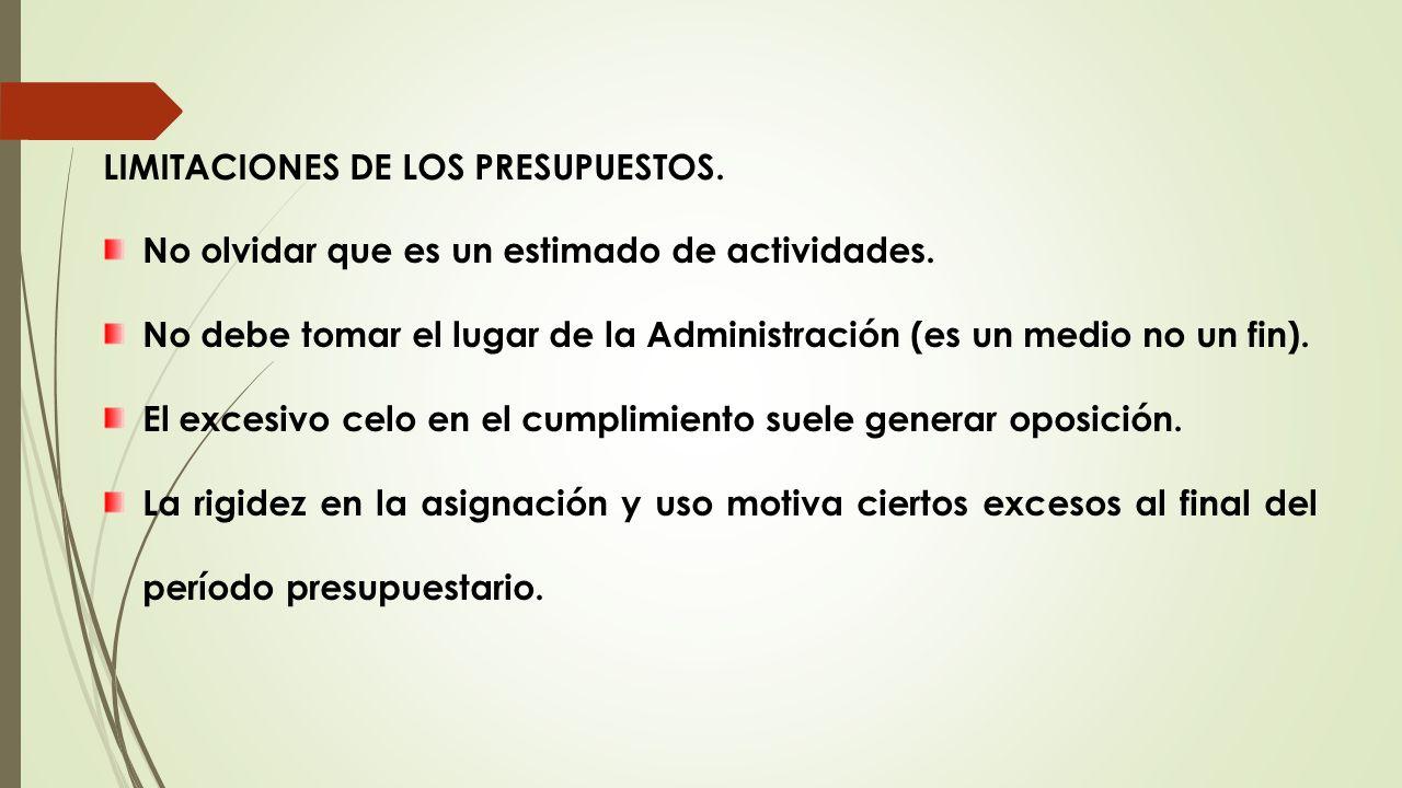 LIMITACIONES DE LOS PRESUPUESTOS.