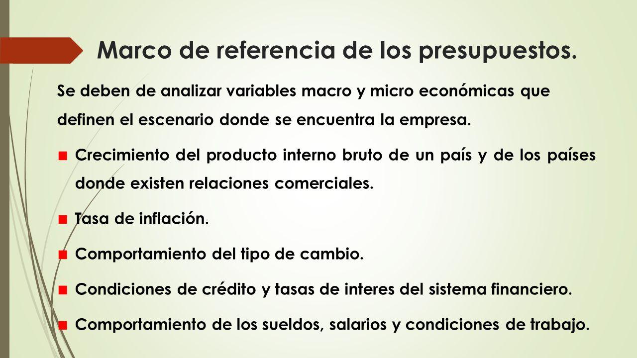 Marco de referencia de los presupuestos.