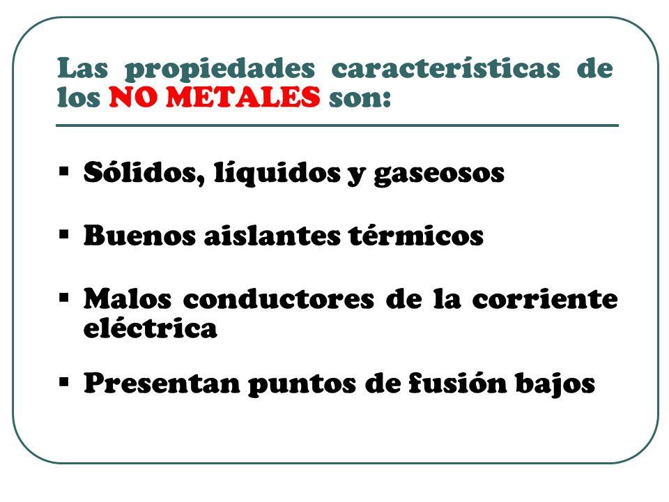 Las propiedades características de los NO METALES son:
