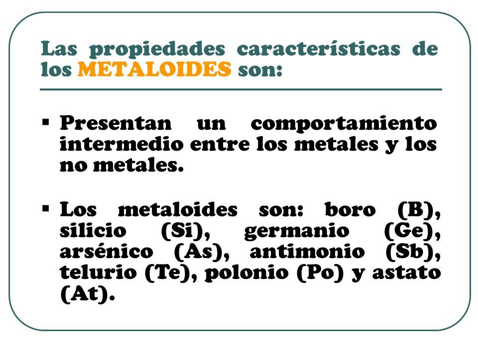 Las propiedades características de los METALOIDES son: