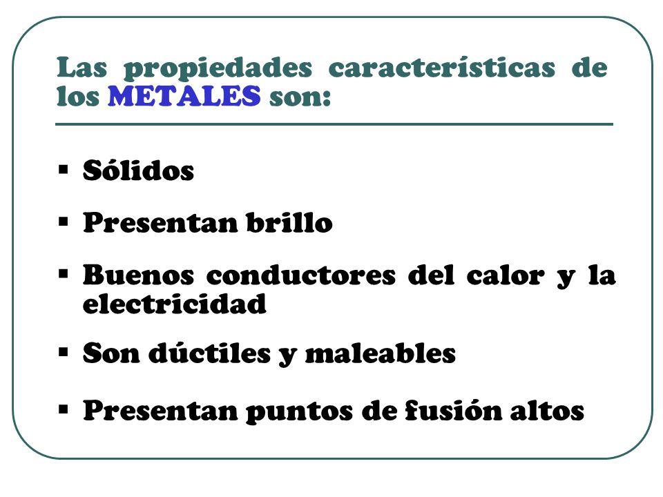 Las propiedades características de los METALES son:
