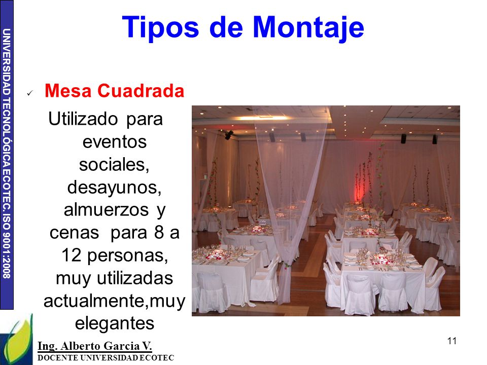 Tipos de eventos y montajes ppt video online descargar for Mesa cuadrada para 8 personas