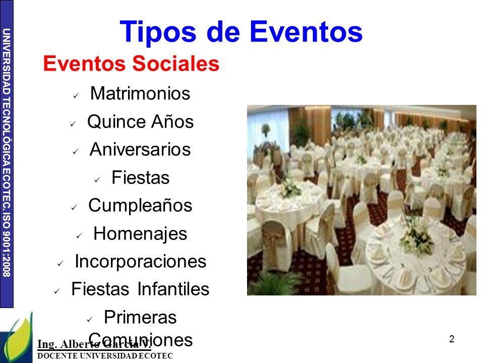 Tipos de Eventos Eventos Sociales Matrimonios Quince Años Aniversarios