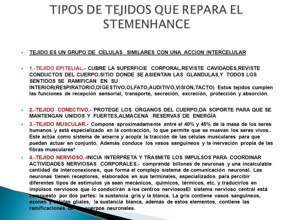 TIPOS DE TEJIDOS QUE REPARA EL STEMENHANCE