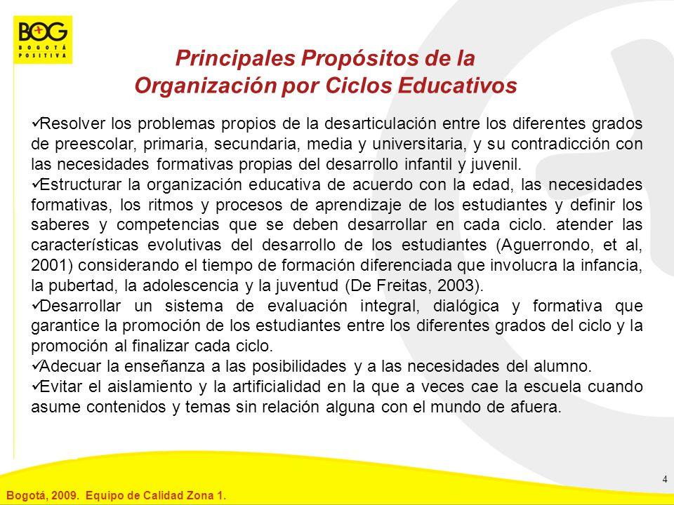 Principales Propósitos de la Organización por Ciclos Educativos