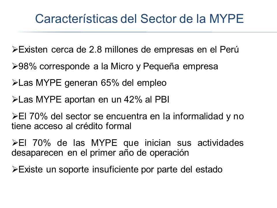 Características del Sector de la MYPE