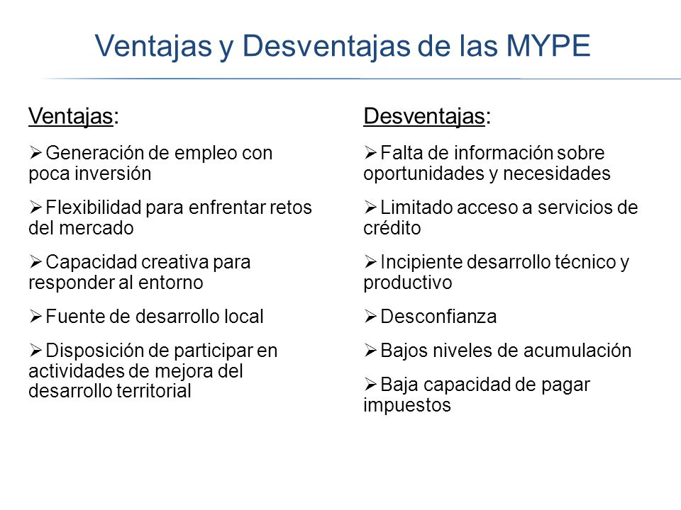 Ventajas y Desventajas de las MYPE