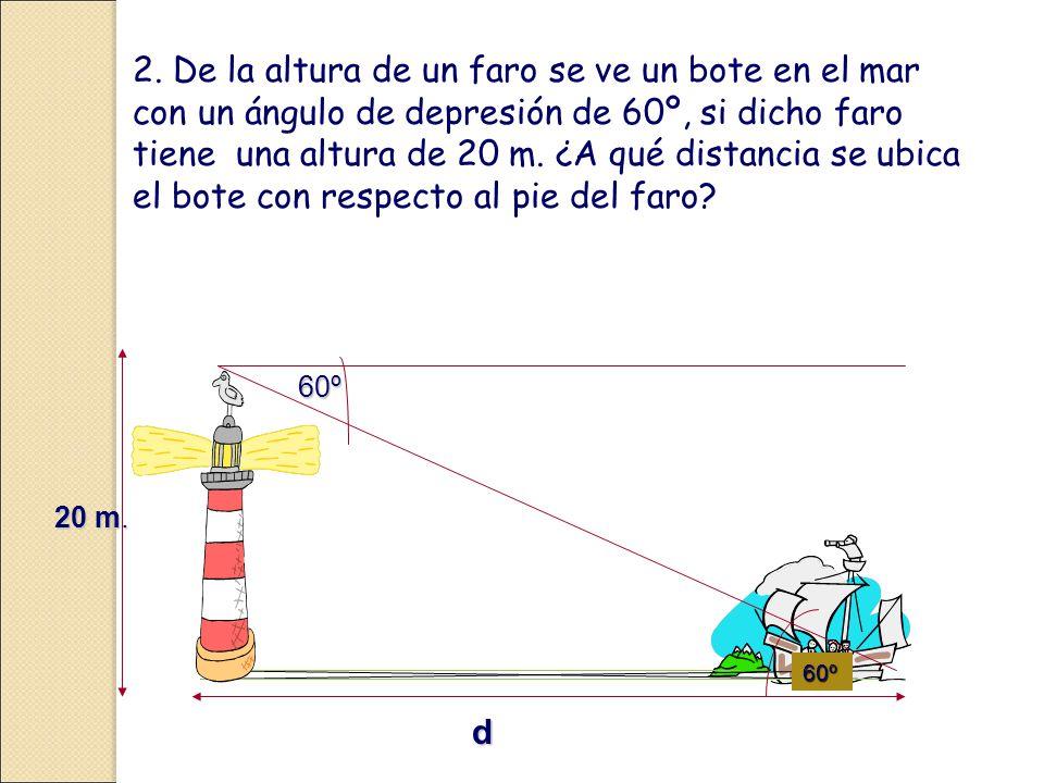 2. De la altura de un faro se ve un bote en el mar con un ángulo de depresión de 60º, si dicho faro tiene una altura de 20 m. ¿A qué distancia se ubica el bote con respecto al pie del faro
