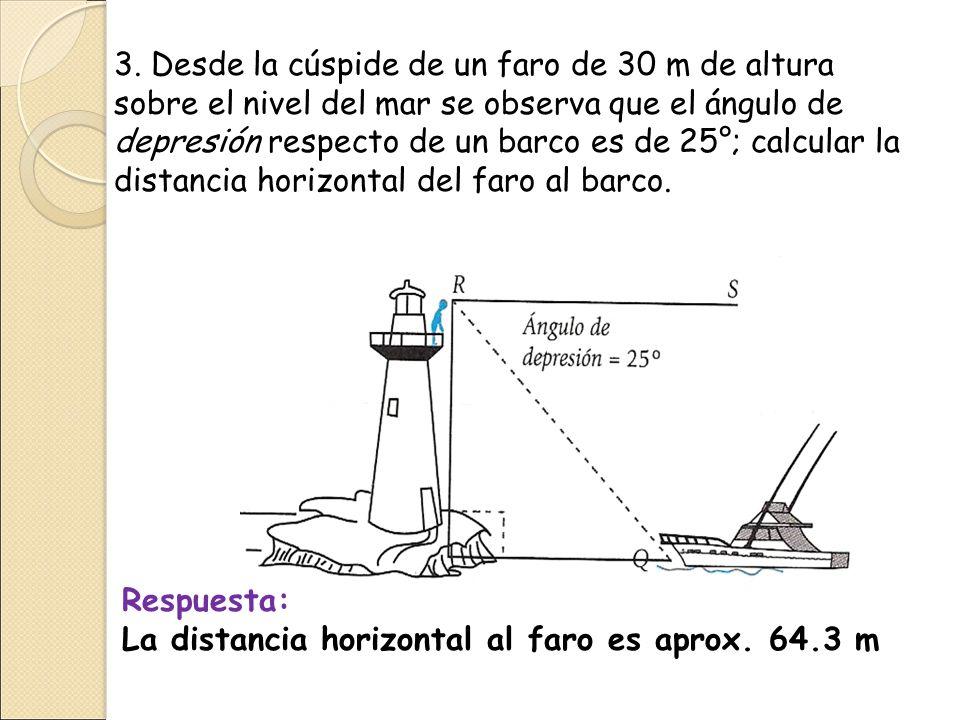 3. Desde la cúspide de un faro de 30 m de altura sobre el nivel del mar se observa que el ángulo de depresión respecto de un barco es de 25°; calcular la distancia horizontal del faro al barco.