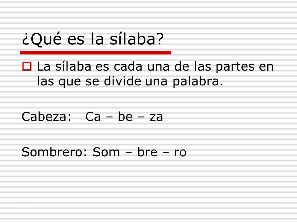 ¿Qué es la sílaba La sílaba es cada una de las partes en las que se divide una palabra. Cabeza: Ca – be – za.