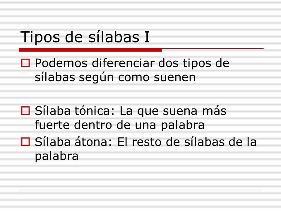 Tipos de sílabas I Podemos diferenciar dos tipos de sílabas según como suenen. Sílaba tónica: La que suena más fuerte dentro de una palabra.