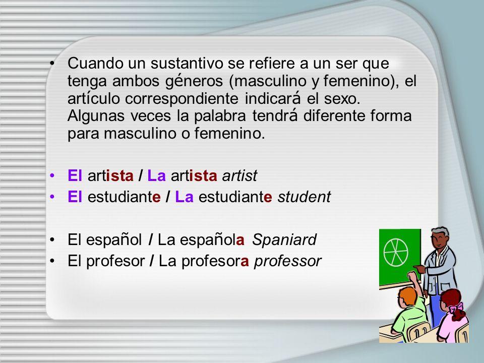 El género masculino y femenino en español