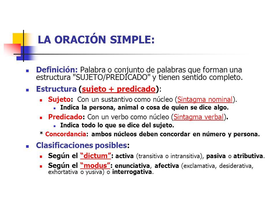 LA ORACIÓN SIMPLE: Definición: Palabra o conjunto de palabras que forman una estructura SUJETO/PREDICADO y tienen sentido completo.