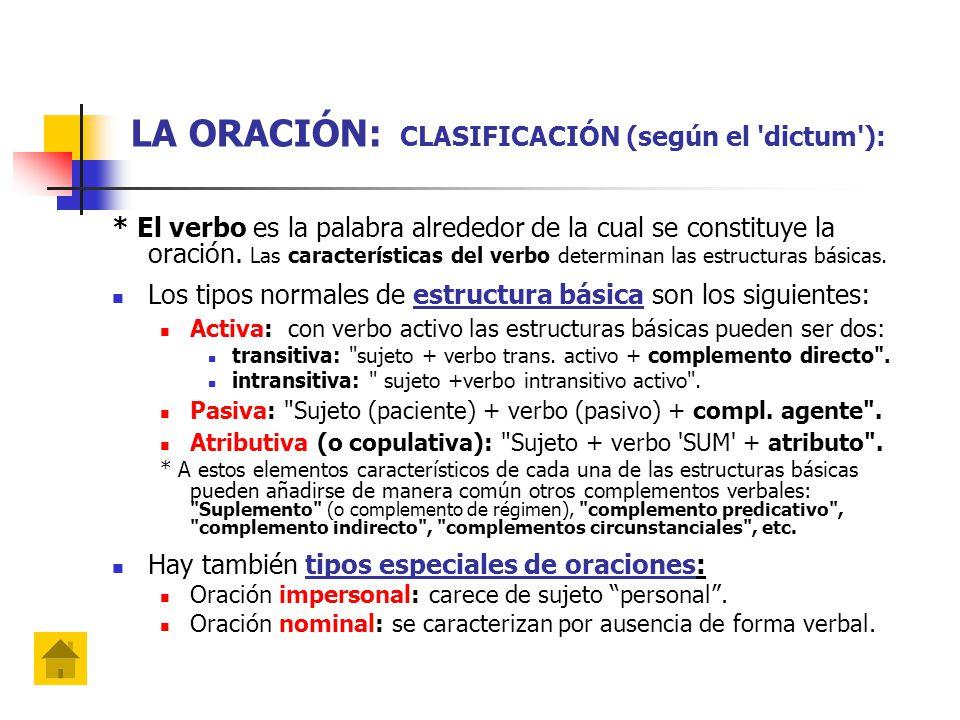 LA ORACIÓN: CLASIFICACIÓN (según el dictum ):