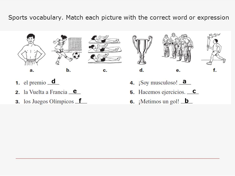 Sports vocabulary. Match each picture with the correct word or expression