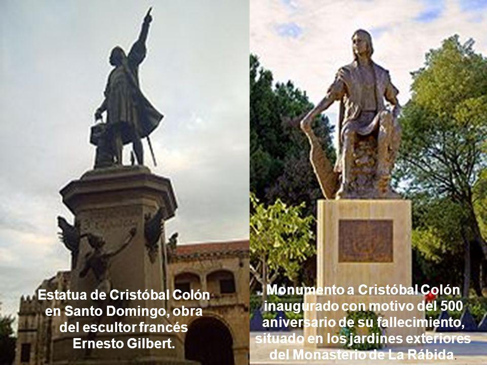 Monumento a Cristóbal Colón inaugurado con motivo del 500 aniversario de su fallecimiento, situado en los jardines exteriores del Monasterio de La Rábida.