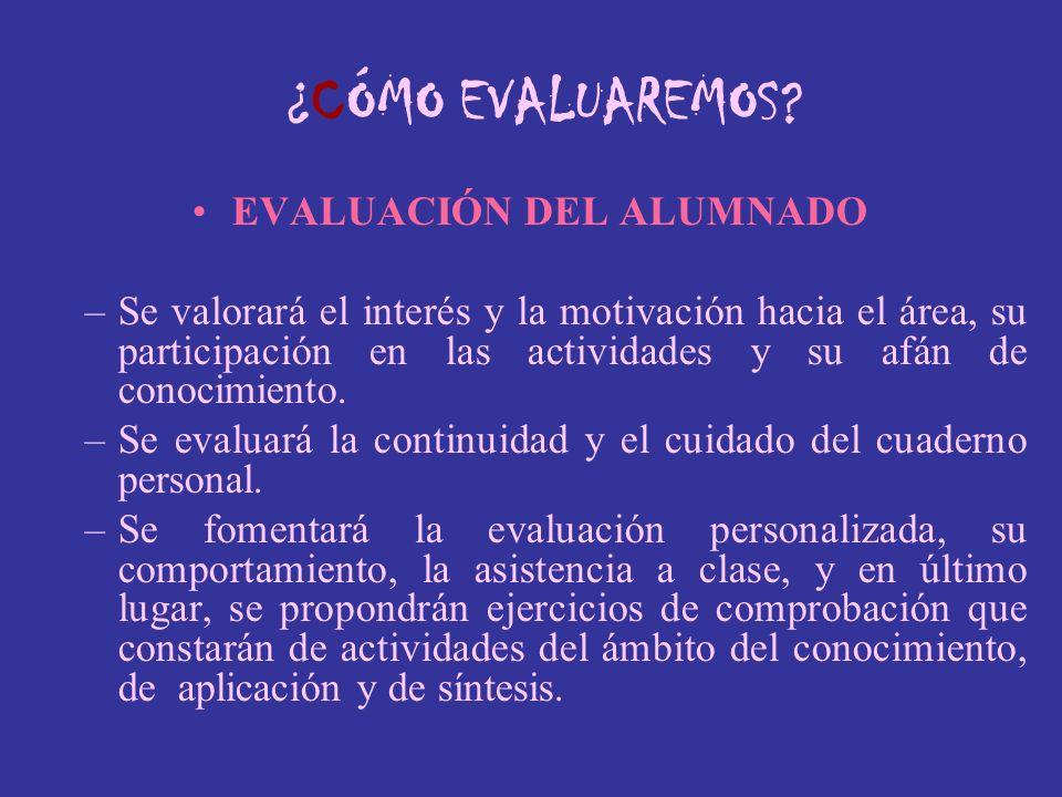 EVALUACIÓN DEL ALUMNADO