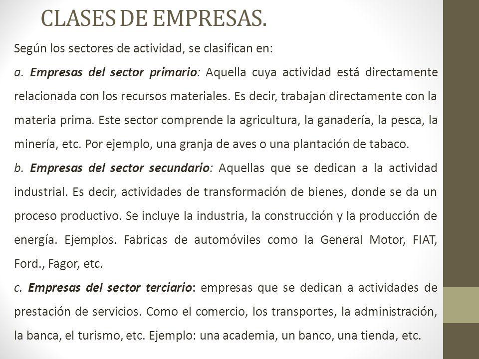 CLASES DE EMPRESAS. Según los sectores de actividad, se clasifican en: