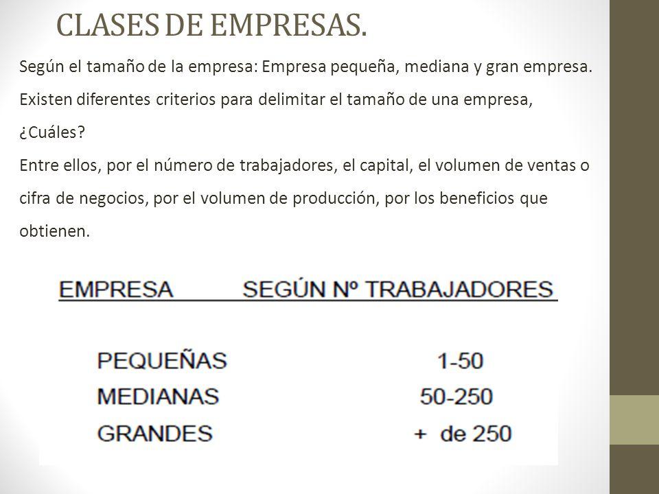CLASES DE EMPRESAS. Según el tamaño de la empresa: Empresa pequeña, mediana y gran empresa.