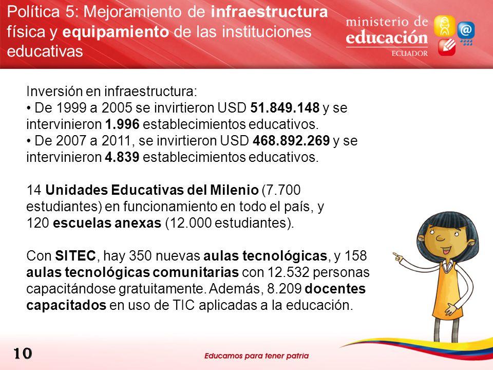 Política 5: Mejoramiento de infraestructura física y equipamiento de las instituciones educativas