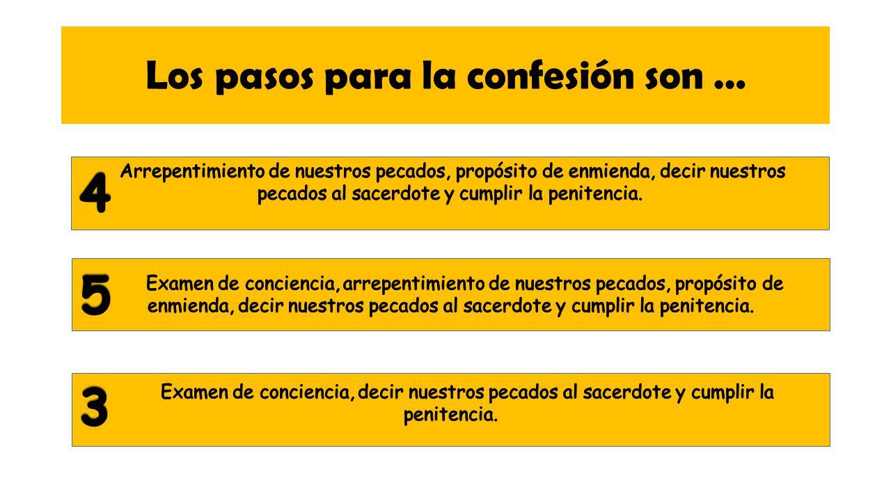 Los pasos para la confesión son …