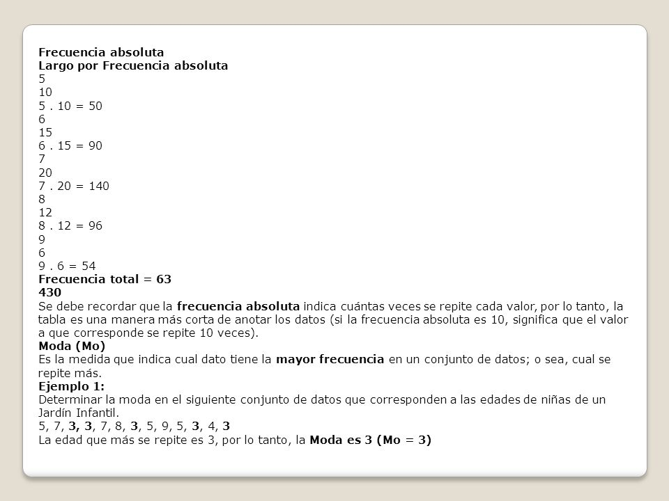 Frecuencia absoluta Largo por Frecuencia absoluta. 5. 10. 5 . 10 = 50. 6. 15. 6 . 15 = 90. 7.
