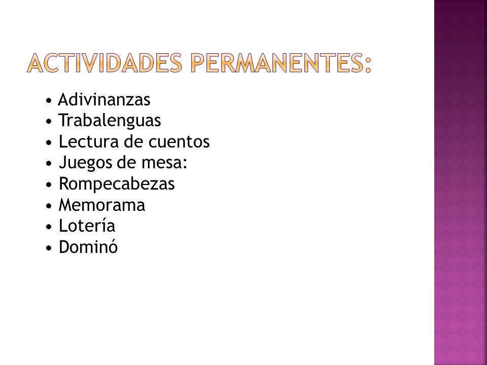 Actividades permanentes: