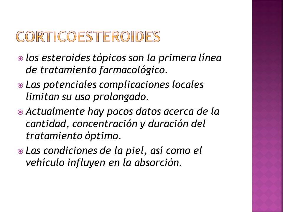 CORTICOESTEROIDES los esteroides tópicos son la primera línea de tratamiento farmacológico.