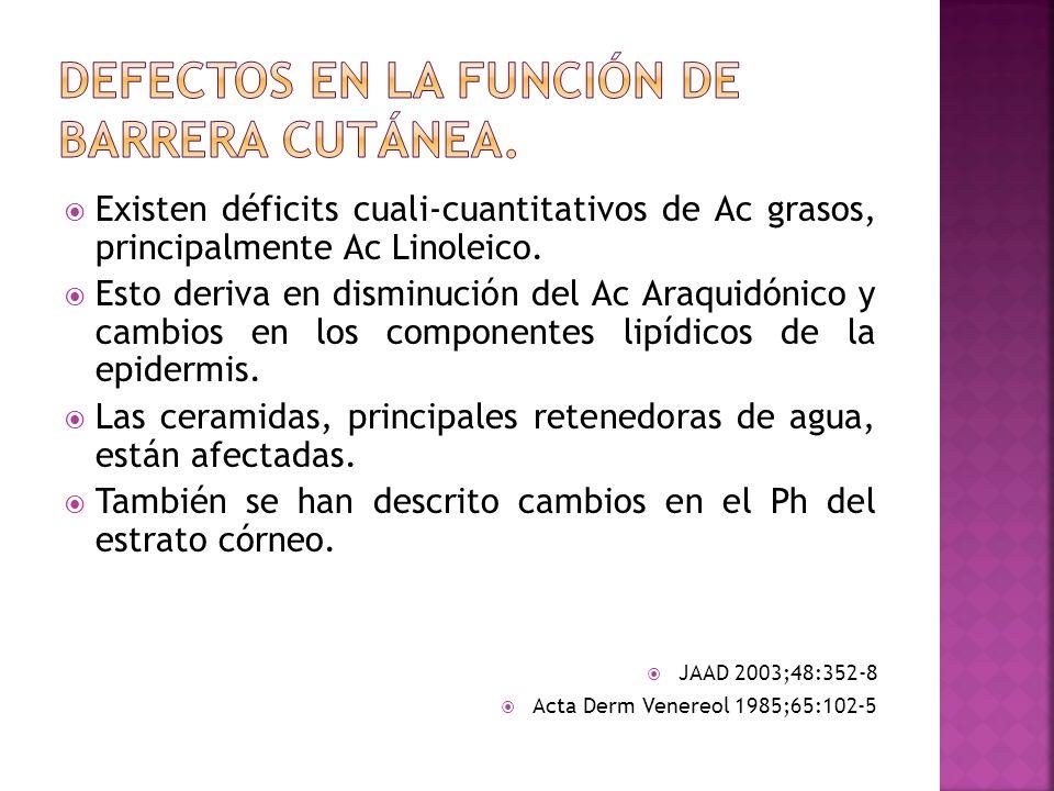 DEFECTOS EN LA FUNCIÓN DE BARRERA CUTÁNEA.