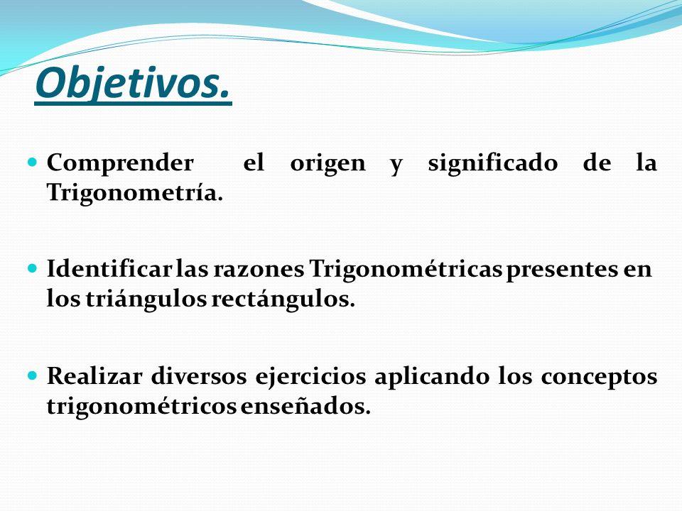 Objetivos. Comprender el origen y significado de la Trigonometría.