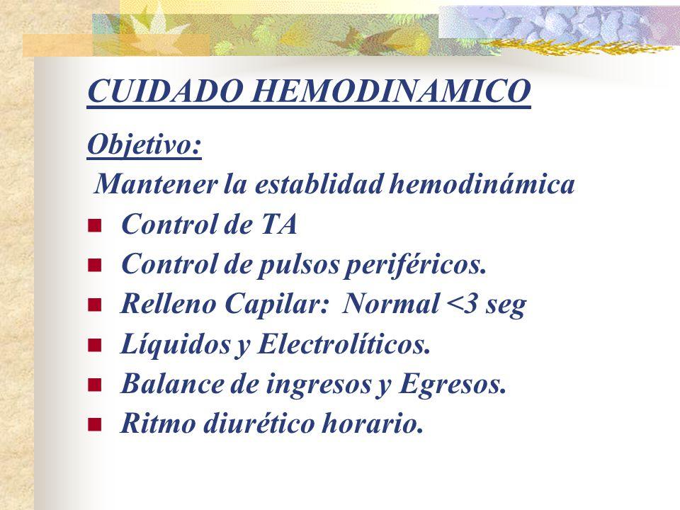 CUIDADO HEMODINAMICO Objetivo: Mantener la establidad hemodinámica