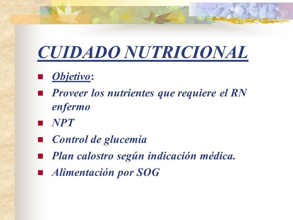 CUIDADO NUTRICIONAL Objetivo: