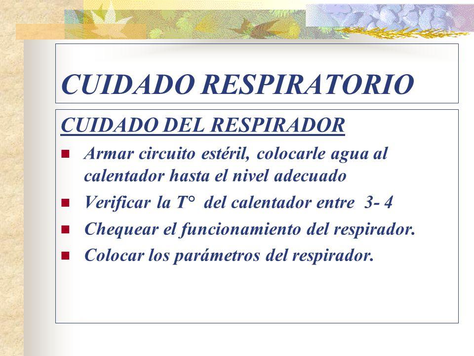 CUIDADO RESPIRATORIO CUIDADO DEL RESPIRADOR