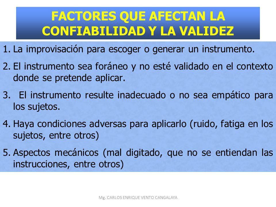 FACTORES QUE AFECTAN LA CONFIABILIDAD Y LA VALIDEZ