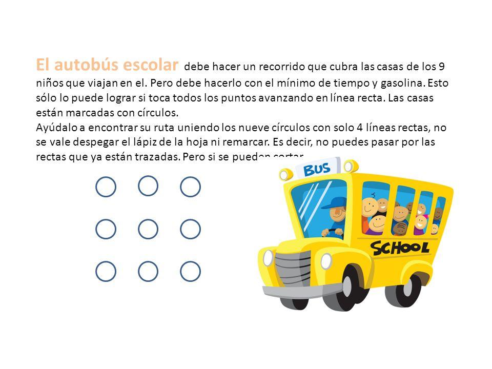 El autobús escolar debe hacer un recorrido que cubra las casas de los 9 niños que viajan en el. Pero debe hacerlo con el mínimo de tiempo y gasolina. Esto sólo lo puede lograr si toca todos los puntos avanzando en línea recta. Las casas están marcadas con círculos.